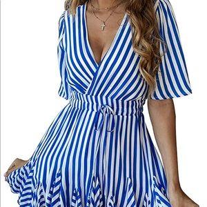 Striped Wrap Mini Dress with Belt